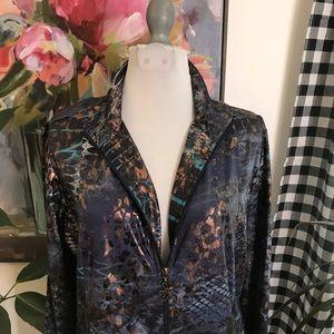 Susan Graver Tops - Susan Graver foil print zip up jacket 4H